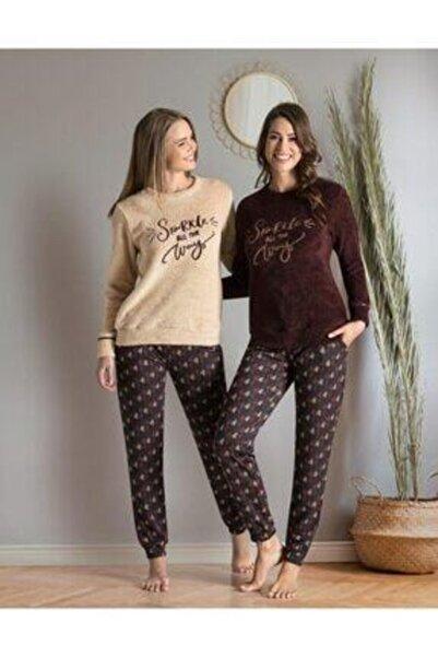 Poleren Kadın Bej Pijama Takımı