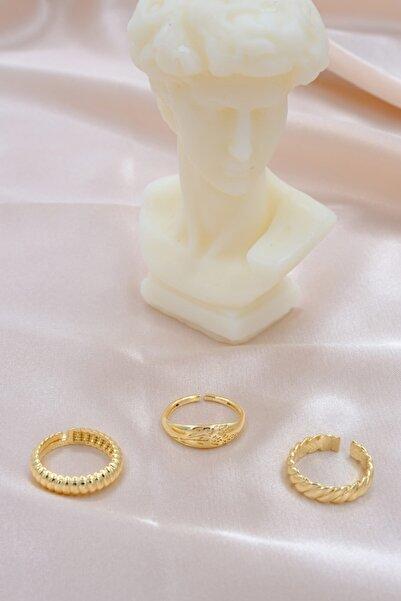 AURRARİ Kadın  Gold Yüzük Seti  3'lü