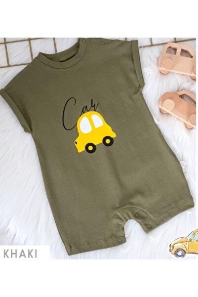 Babydola Erkek Bebek Şort Tulum Araba Desenli Haki Renk