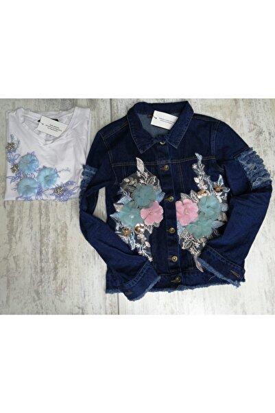 Zoom Efsununbutigi Çiçekli Bluz Kot Ceket Takım