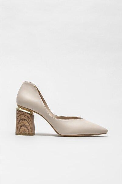 Elle Shoes Ekru Kadın Topuklu Ayakkabı