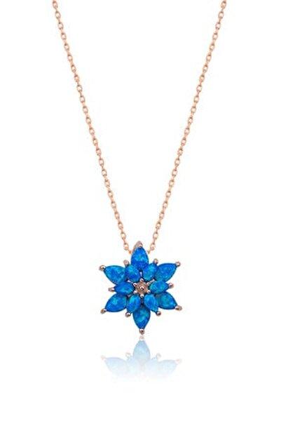 925 Ayar Mavi Opal Taşlı Gümüş Lotus Kolye