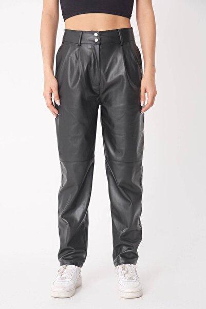 Addax Kadın Siyah Suni Deri Pantolon Pn70774 - E7 ADX-0000023446