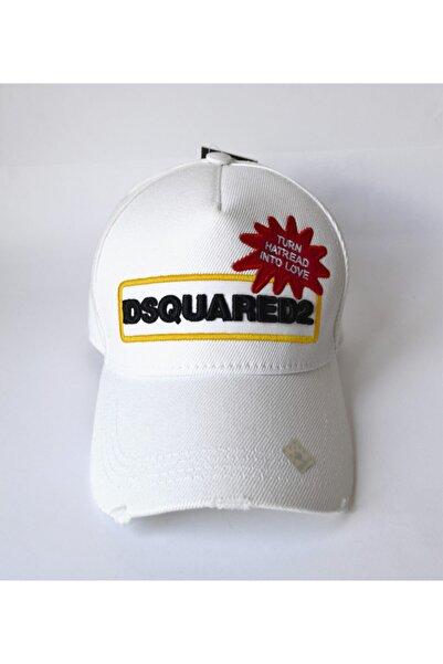 DSquared2 Unisex Beyaz Şapka Siyah Yazılı
