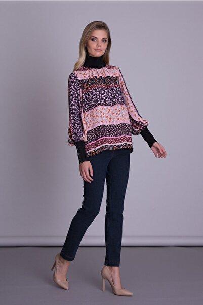 GIZIA CASUAL Kadın Mor Manşet Ve Yaka Triko Detaylı Çiçek Desenli Bluz