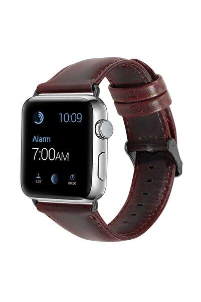 zore Apple Watch Uyumlu Luxury Leather Deri Kordon 44mm