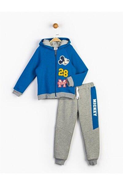 Mickey Mouse Erkek Çocuk Mavi Mickey Kapüşonlu Takım 16226