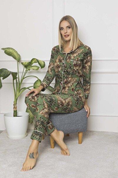 ASL Kadın Yeşil Renk Desenli Süet Düğmeli Pijama Takımı
