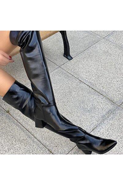 ikoshoe Kadın Siyah Bianca Diz Altı Çizme