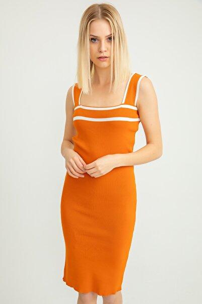 Foremia Triko Şerit Detay Kalın Askılı Elbise