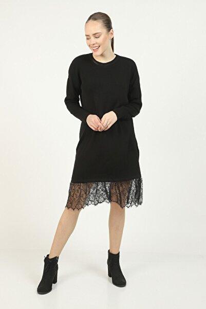 İklim Kadın Siyah Altı Dantel Tunik