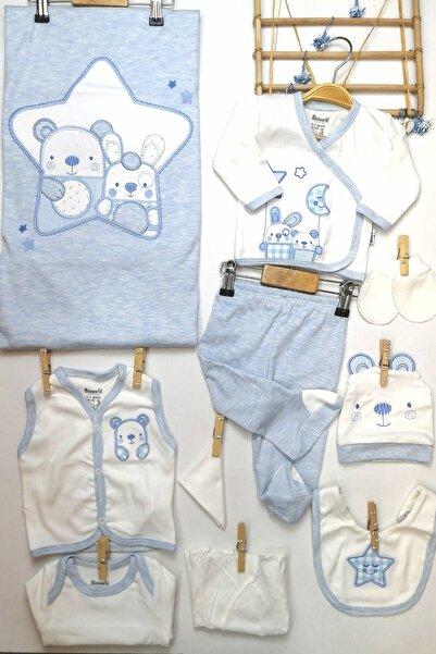 Miniworld Unisex Bebek Mavi Ayıcık Desenli 10 lu  Hastane Çıkış Seti