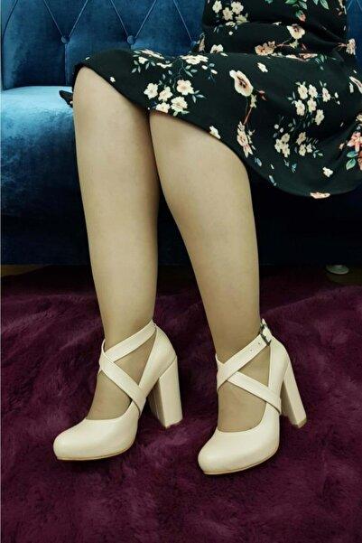 TREND Kadın Bej Topuklu Ayakkabı