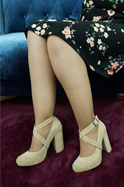 TREND Kadın Bej Süet  Topuklu Ayakkabı