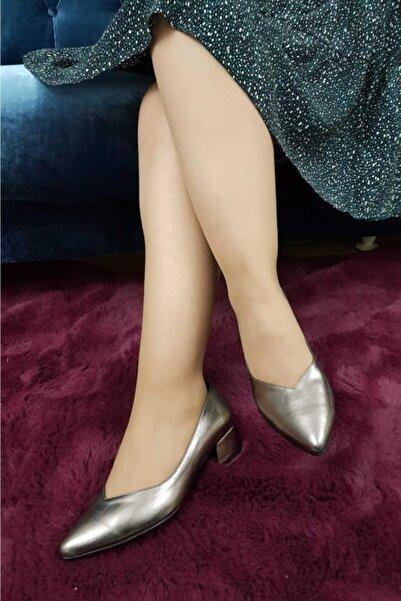 TREND Kadın Topuklu Ayakkabı Platin Ox07