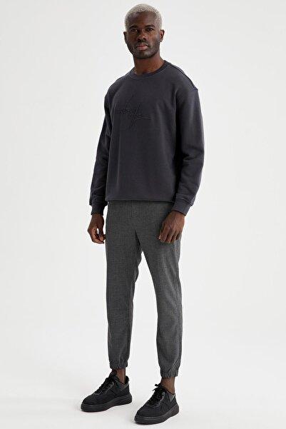 DeFacto Erkek Gri Bağcıklı Dokuma Jogger Pantolon