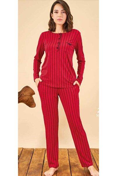 PJS Kadın Kırmızı Uzun Kol Pijama Takımı