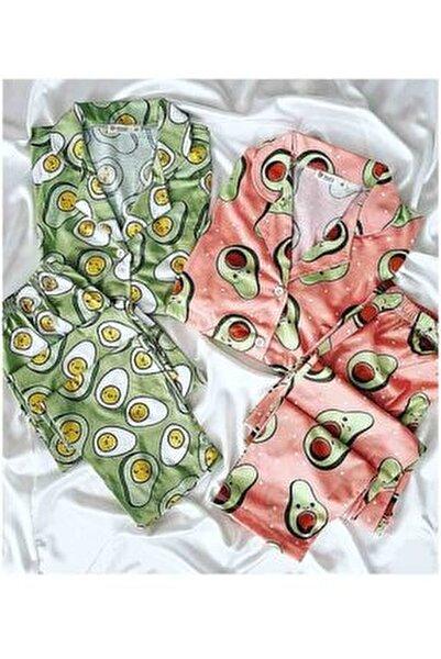Avakado Desenli Uzun Kollu Turuncu Ve Yeşil 2 Li Penye Pijama Takımı 5262 L
