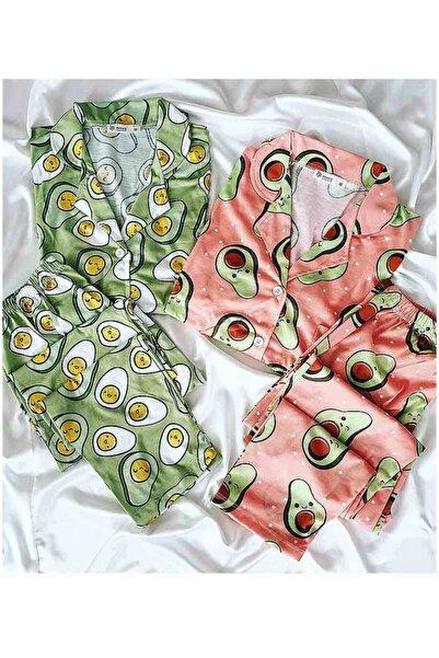 Çeyize dair herşey Avakado Desenli Uzun Kollu Turuncu Ve Yeşil 2 Li Penye Pijama Takımı 5262 L
