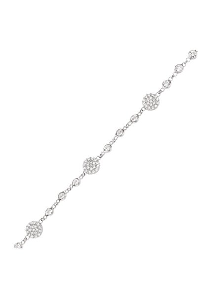 Altın Sepeti Kadın Beyaz Gümüş Taşlı Trend Bileklik