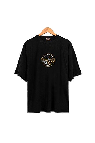 Venice Unisex Siyah Keep Smiling Oversize Tshirt