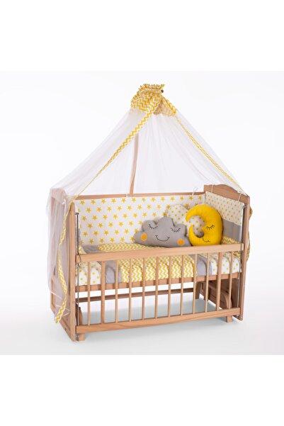 Heyner Ahşap Beşik Anne Yanı Beşik Sallanır Beşik Organik 60x120 + Sarı Yıldız Uyku Seti + Yatak + Tekerlek