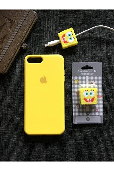 SUPPO Iphone 7 8 Plus Uyumlu   Logolu  Kılıf + Kablo Koruyucu