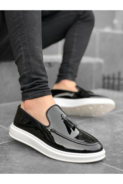 BOA Erkek Siyah Bağcıksız Yüksek Taban Beyaz Taban Rugan Klasik Püsküllü Ayakkabı Ba0005