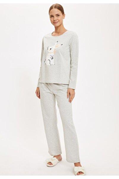 DeFacto Tavşan Baskılı Uzun Kollu Pijama Takımı