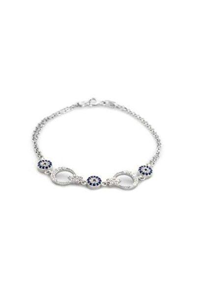 Tesbihane Kadın Mavi Beyaz Zirkon Taşlı Ayyıldız Tasarım Gümüş Bileklik 925 Ayar
