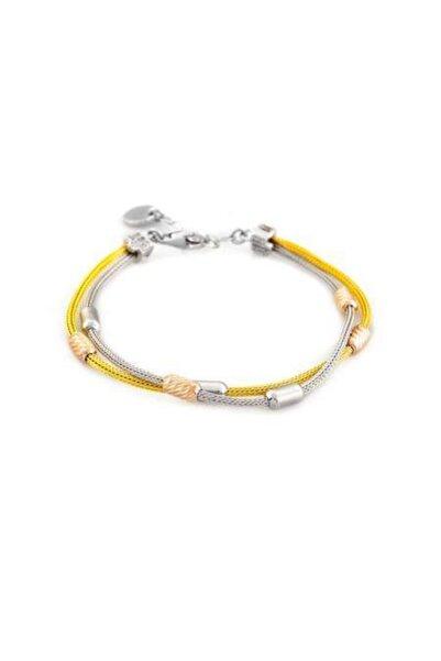 Tesbihane Çift Sıra Silver-gold Renkli 925 Ayar Gümüş Dorika Kadın Bileklik