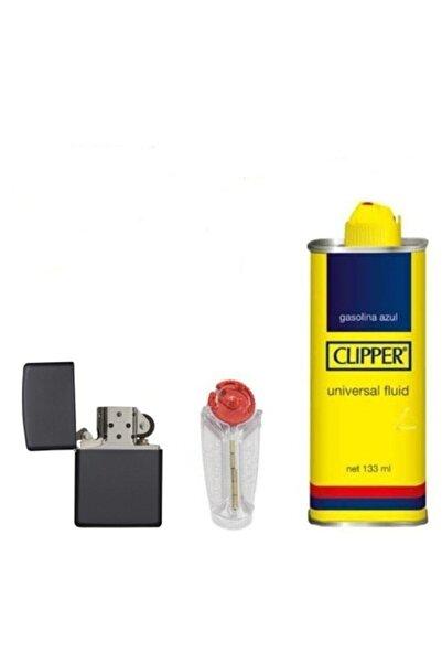 Zippo Siyah Çakmak Clipper Benzin 133 ml  5'li Taşı Set