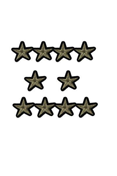 HALFART Yıldız Arma Yama Patch Sticker ( Ütüyle Yapışan Arma ) 10 Adet