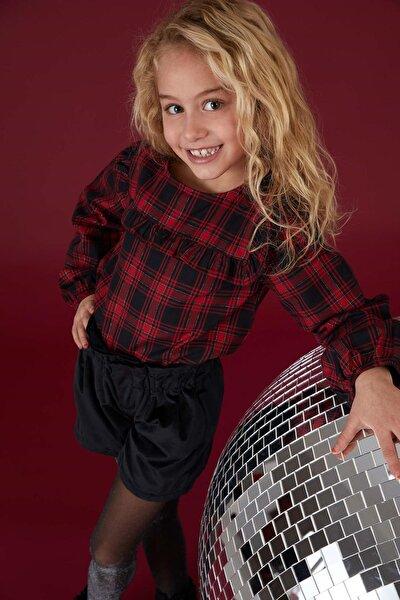 DeFacto Kız Çocuk Kareli Relax Fit Gömlek