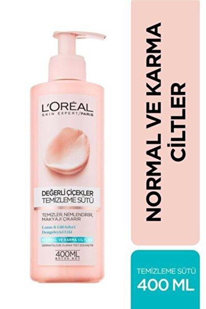 L'Oreal Paris Değerli Çiçekler Normal Ve Karma Ciltler Için Yüz Temizleme Sütü 400 ml 3600523449330