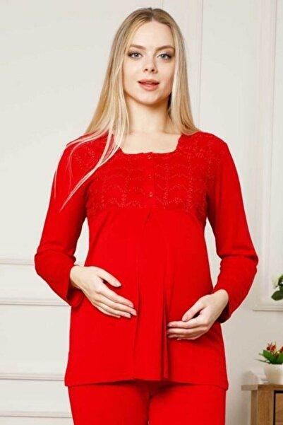 ALİMER Kırmızı Hamile Lohusa Pijama Takımı