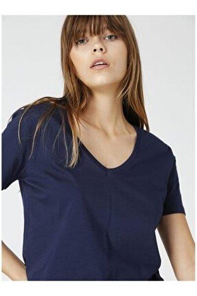 Teyo Lacivert V Yaka Kadın T-shirt