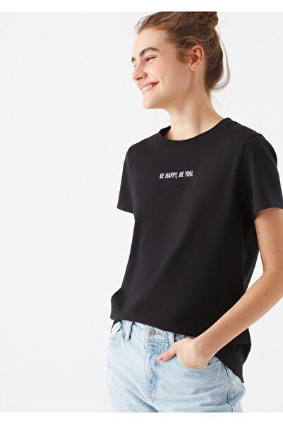 Mavi Kadın Siyah Be Happy Baskılı  Tişört