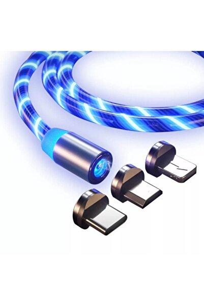 Suba Manyetik Mıknatıslı Hareketli Işıklı 3 Uçlu Mavi Renkli Kablo
