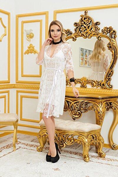 BellaMoore Real Passione Kadın Beyaz Saten Dantelli Fantezi Gecelik Sabahlık Üçlü Takım