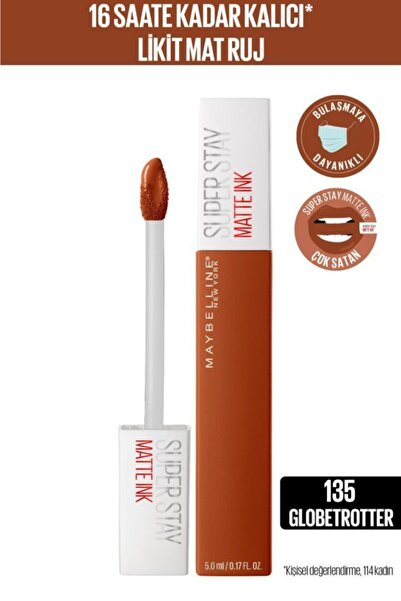 Maybelline New York Super Stay Matte Ink City Edition Likit Mat Ruj - 135 Globe-trotter