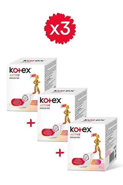 Kotex Active Günlük Ped 32'li - 3'lü Paket