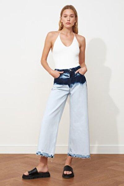 Mavi Renk Bloklu Yüksek Bel Culotte Jeans TWOSS21JE0145