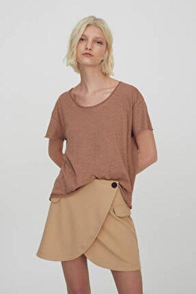 Kadın Bizon Bordür Detaylı Basic T-Shirt 09247432