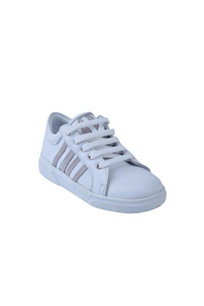 Perlina Unisex Çocuk Beyaz Doğal Deri Ortopedik Destekli Spor Ayakkabı 31-35 01404