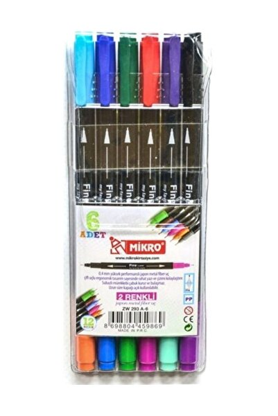Mikro Zw 293a-6 Lı 2 Renkli Fınelıner Keçeli Kalem 6 Kalem 12renk