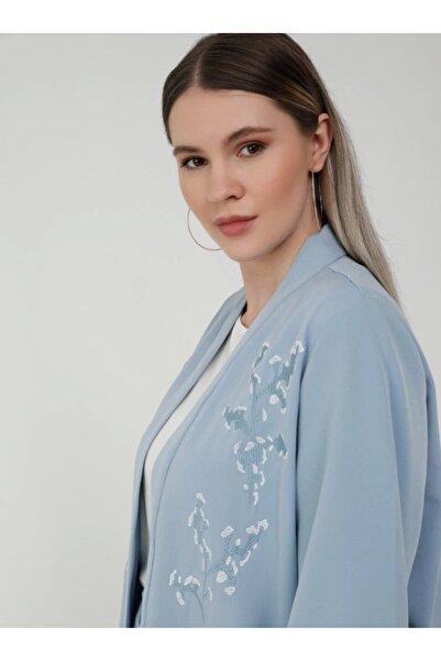 ALİA Kadın Buzul Mavi Büyük Beden Ceket Pantolon İkili Abiye Takım