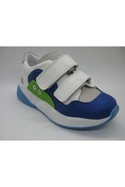 Perlina Çocuk  Beyaz-Mavi Iç Dış Deri Ortopedik  Spor Ayakkabısı 01404 31-35