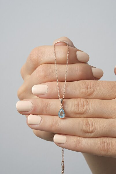 Anka Gümüş Kadın Minik Aquamarin Taşlı Damla Gümüş Kolye 925 Ayar Kolye