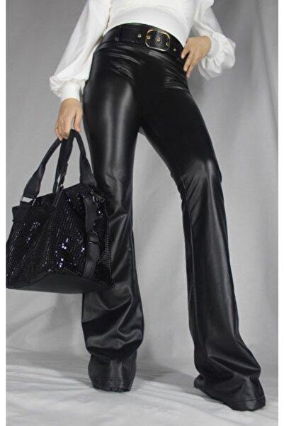 jeanfeast Kadın Siyah Kemerli Ispanyol Paça Deri Pantolon